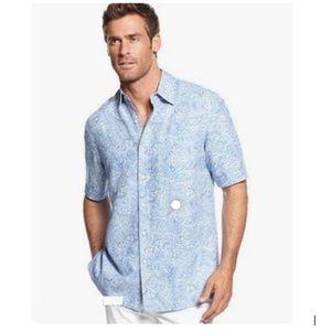 Tasso Elba Silk & Linen Paisley Shirt - S